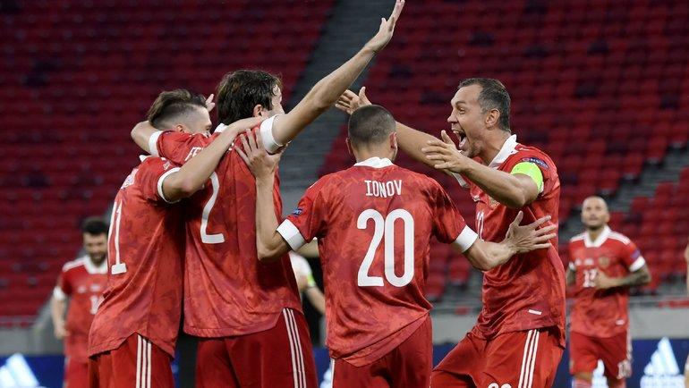 6сентября. Будапешт. Венгрия— Россия— 2:3. 46-я минута. Россияне празднуют гол Мариу Фернандеса. Фото AFP