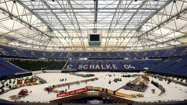 Арена «Шальке», переоборудованная под биатлонную трассу. Фото AFP