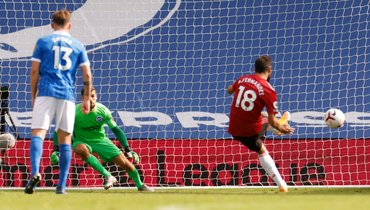 26сентября. Брайтон. «Брайтон & Хоув»— «Манчестер Юнайтед»— 2:3. Бруну Фернандеш забивает победный гол.