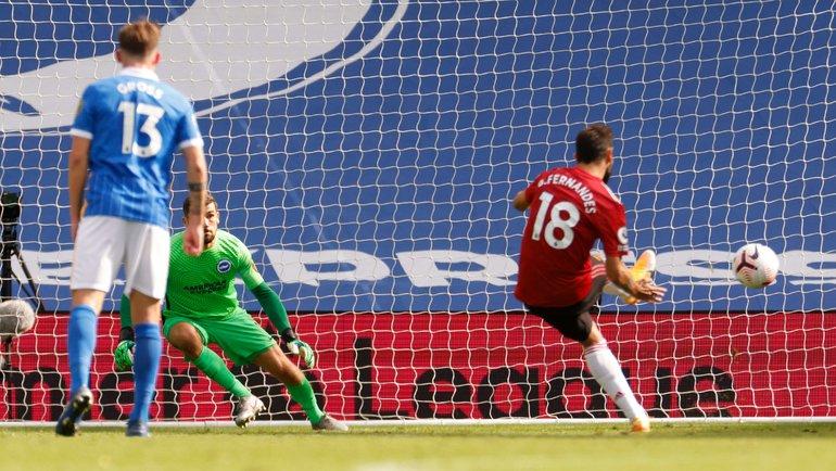 26сентября. Брайтон. «Брайтон & Хоув»— «Манчестер Юнайтед»— 2:3. Бруну Фернандеш забивает победный гол. Фото AFP