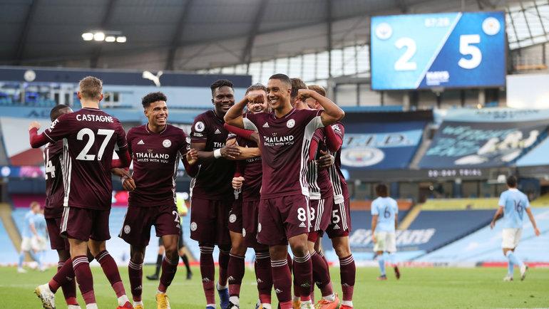 27сентября. Манчестер. «Манчестер Сити»— «Лестер»— 2:5. 88-я минута. Гости празднуют пятый гол. Фото Reuters