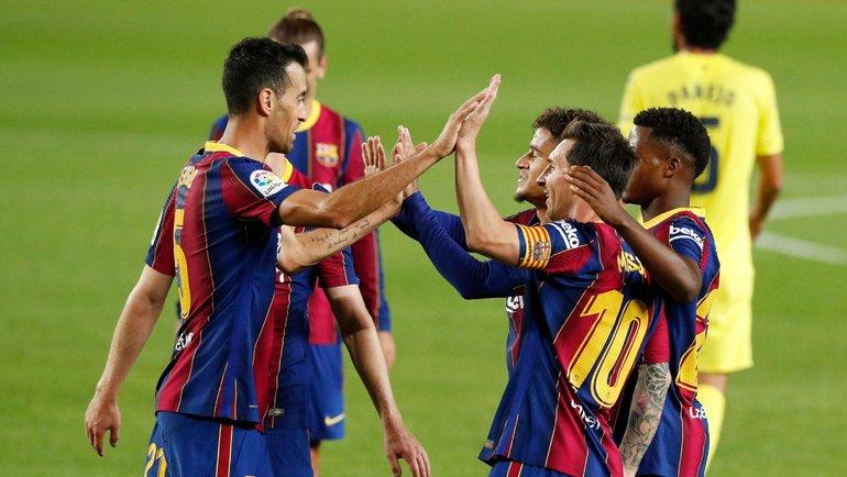 27сентября. Барселона. «Барселона»— «Вильярреал»— 4:0. Лионель Месси (№10) вместе спартнерами начал новый сезон. Фото Reuters
