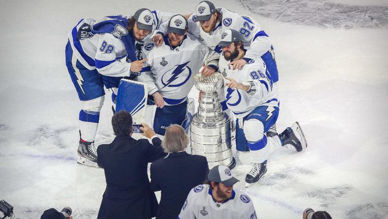 Русские чемпионы НХЛ— Сергачев, Василевский, Кучеров иВолков. Фото USA Today Sports