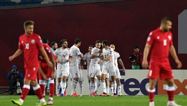 Безумная радость игроков сборной Грузии. Команда вшаге отвыхода наЕвро-2020