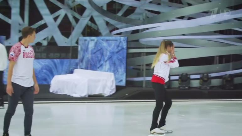 Ольга Бузова расплакалась натренировке «Ледникового периода». Фото Скрин сэфира Первого канала