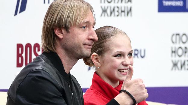 Евгений Плющенко и Александра Трусова. Фото Дарья Исаева, «СЭ» / Canon EOS-1D X Mark II