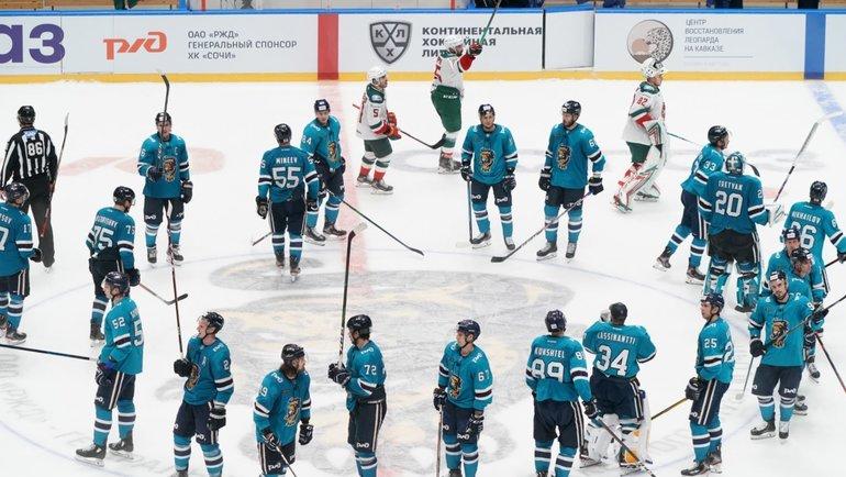 Хоккеисты «Сочи» вцентре площадки. Фото ХК «Сочи»