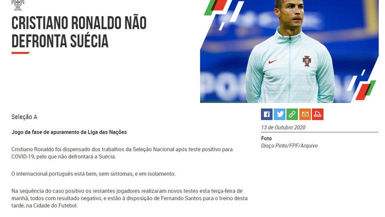Федерация футбола Португалии: сообщение о COVID-19 у Криштиану Роналду.