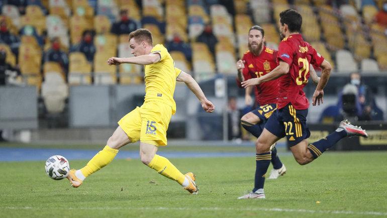 13октября. Киев. Украина— Испания— 1:0. Гол Викторая Цыганкова. Фото Reuters