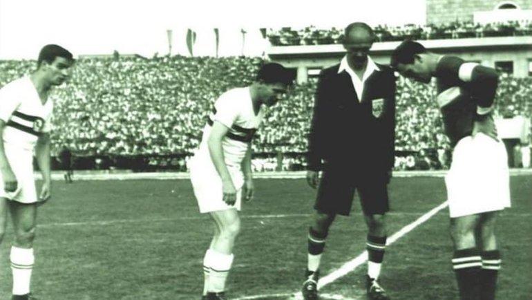 66 лет назад «Непштадион» открывали Ференц Пушкаш иНикита Симонян вматче «Гонвед» (Будапешт)— «Спартак» (Москва).
