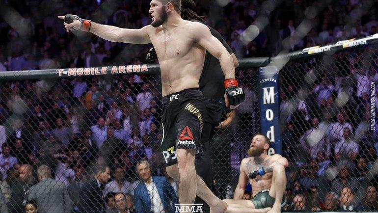 Хабиб Нурмагомедов после победы над Конором Макгрегором. Фото MMA Fighting