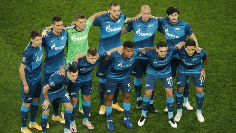 20октября. Санкт-Петербург. «Зенит»— «Брюгге»— 1:2. Игроки «Зенита» перед матчем с «Брюгге». Фото Reuters
