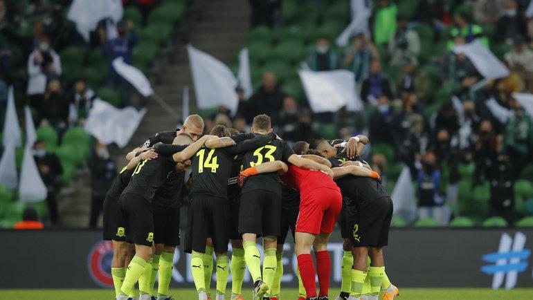 28октября. Краснодар. «Краснодар»— «Челси»— 0:4. Игроки российской команды перед матчем. Фото Reuters