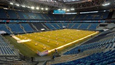 Вид стадиона вСанкт-Петербурге.