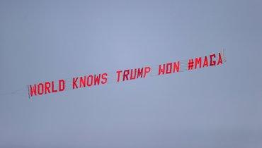 «Мир знает: Трамп победил». ВАнглии запустили самолет сослоганом овыборах вСША