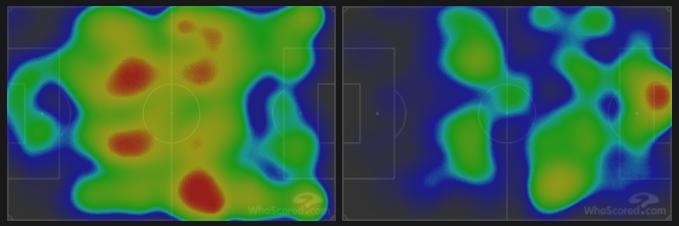 Тепловая карта «Реал Сосьедад» (слева) и «Гранады» (справа) вматче 9-го тура лалиги (2:0). Фото whoscored.com