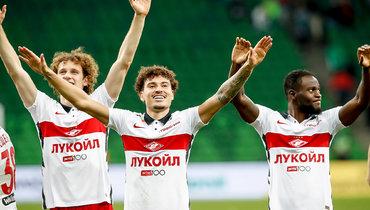 Игроки «Спартака» Алекс Крал, Джордан Ларссон, Виктор Мозес (слева направо).