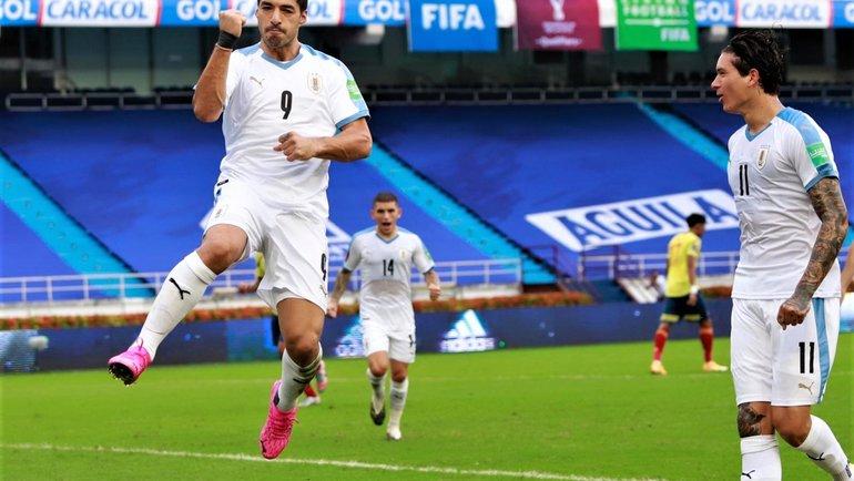 13ноября. Колумбия— Уругвай— 0:3. Луис Суарес празднует гол. Фото Twitter