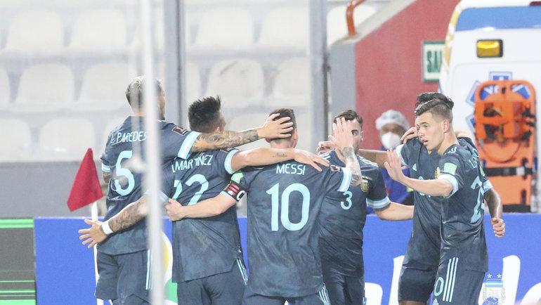 18ноября. Перу— Аргентина— 0:2. Радость аргентинцев. Фото Twitter