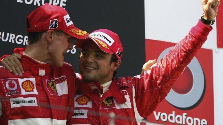 Михаэль Шумахер и Фелипе Масса. Фото Sky Sports.