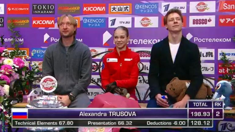 Александра Трусова (в центре). Фото скриншот Первого канала