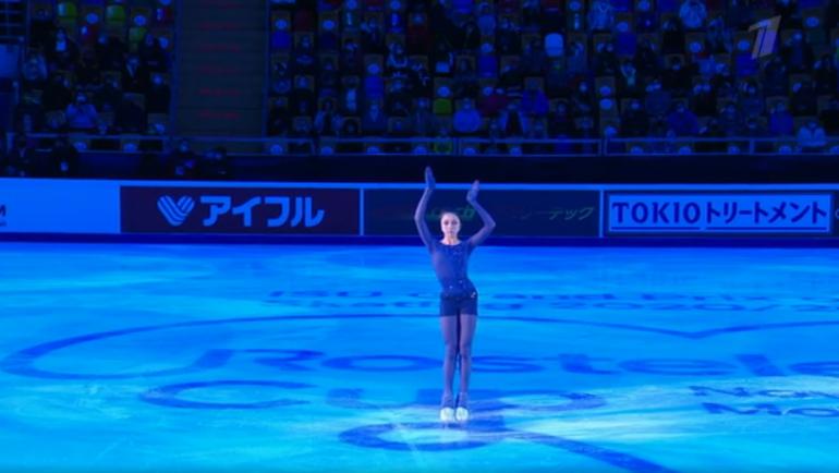 Камила Валиева на «Гран-при России». Фото скриншот Первого канала