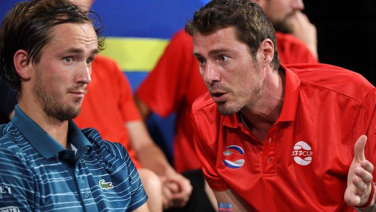 Марат Сафин (справа) иДаниил Медведев. Фото AFP