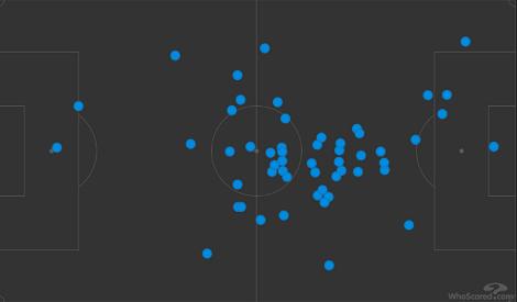 Карта касаний Жиго вматче 9-го тура РПЛ против «Тамбова» (2:0). Фото whoscored.com