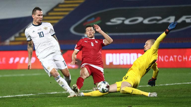 Антон Заболотный вматче против Сербии. Фото Reuters