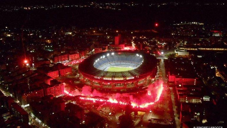 Стадион «Наполи» перед матчем с «Риекой». Фото Симоне Ларокка