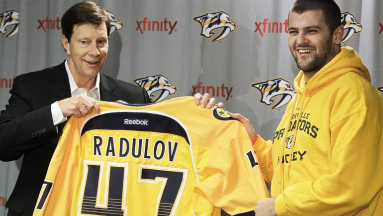 Александр Радулов смайкой «Нэшвилла». Фото НХЛ