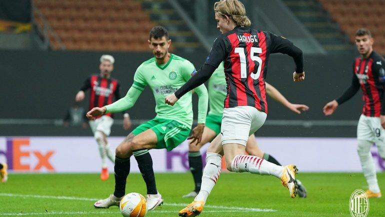Йенс Петтер Хауге вматче против «Селтика». Фото ФК «Милан»