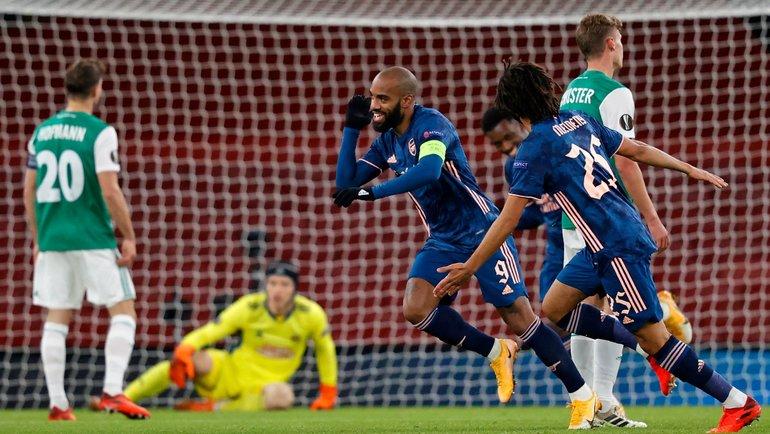 3декабря. «Арсенал»— «Рапид»— 4:1. Александр Ляказетт празднует гол. Фото Twitter