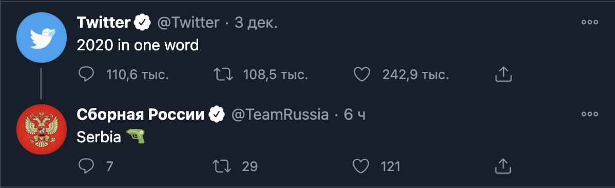 Твит сборной России.