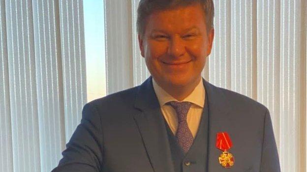 Дмитрий Губерниев сорденом. Фото Telegram.