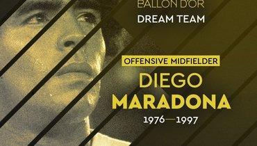 Пеле иМарадона попали всимволическую сборную France Football напозициях полузащитников