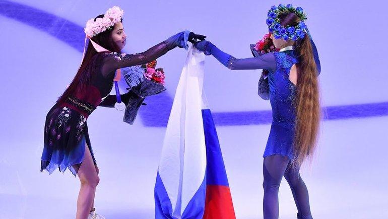 Евгения Медведева иАлександра Трусова. Фото AFP