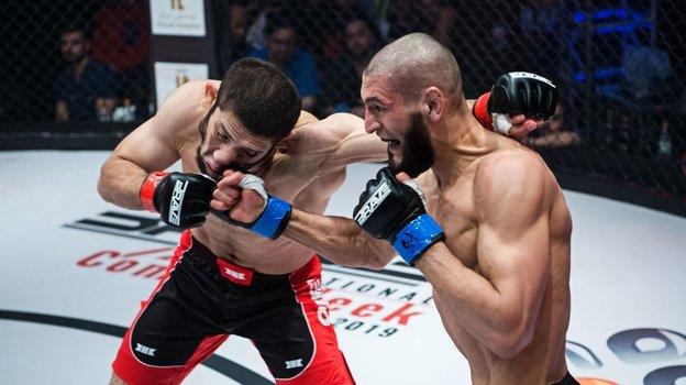 Удар правой отХамзата Чимаева (справа).