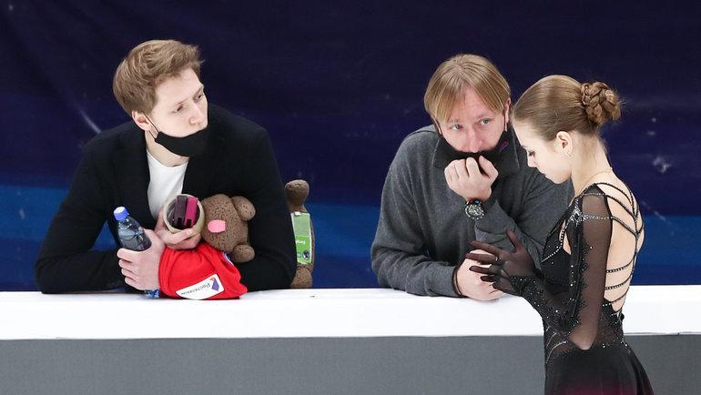Дмитрий Михайлов, Евгений Плющенко иАлександра Трусова. Фото Дарья Исаева, «СЭ» / Canon EOS-1D X Mark II