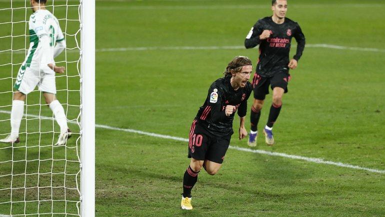 30декабря. Эльче. «Эльче»— «Реал»— 1:1. Лука Модрич празднует гол. Фото Reuters