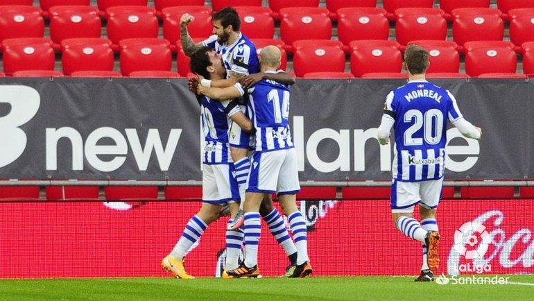 Игроки «Реал Сосьедада» празднуют гол вворота «Атлетика». Фото Twitter