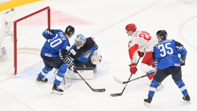6января. Эдмонтон. Россия U20— Финляндия U20— 1:4. Фото ИИХФ
