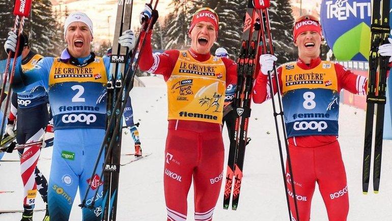 (слева направо) Морис Манифика, Александр Большунов, Денис Спицов. Фото Instagram