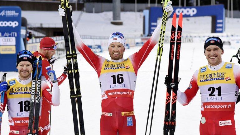 Трио победителей— Шур Рете, Эмиль Иверсен иПол Голберг. Фото AFP