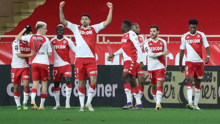 23января. «Монако»— «Марсель». Головин отмечает скомандой второй гол. Фото AFP