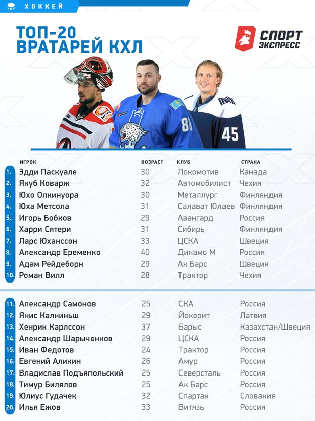 """Топ-20 лучших вратарей КХЛ. Фото """"СЭ"""""""