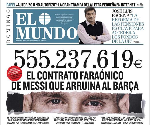 ВИспании обнародовали сумму контракта Месси с «Барселоной». Подробности