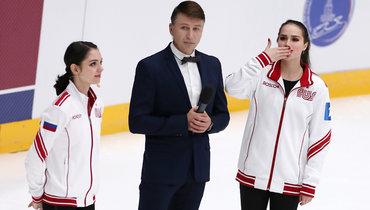 Евгения Медведева. Алексей Ягудин, Алина Загитова. Капитаны команд иведущий вечера.