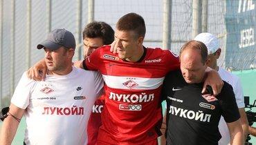 Александр Соболев получил повреждение втоварищеском матче. Фото ФК «Спартак»