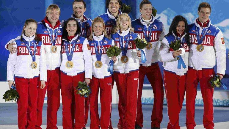 Сборная России по фигурному катанию - победители Олимпиады в Сочи. Фото -